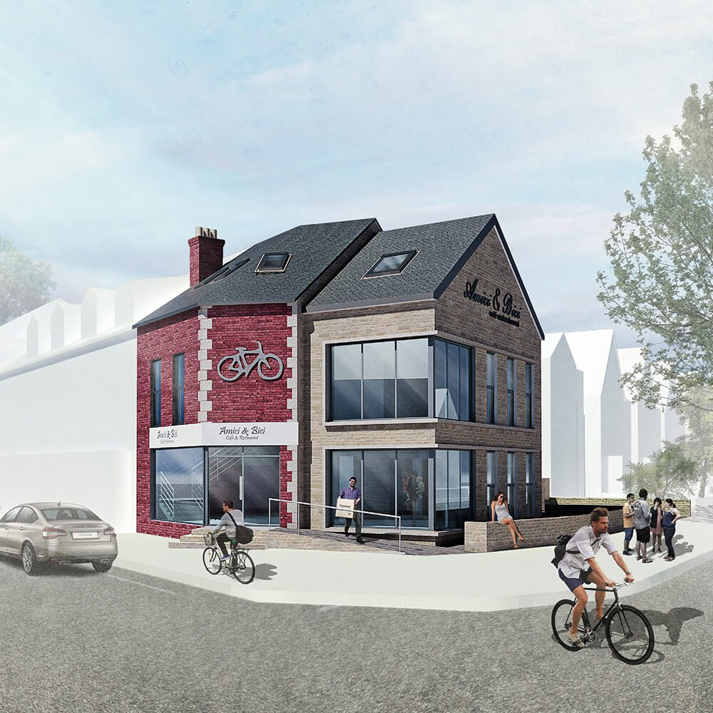 Proposed Architectural Design of Amici & Bici Cafe on Abbeydale Road in Sheffield